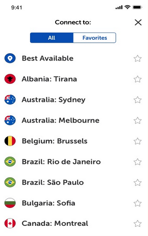 The server location choices within the Namecheap VPN app on an iPhone.