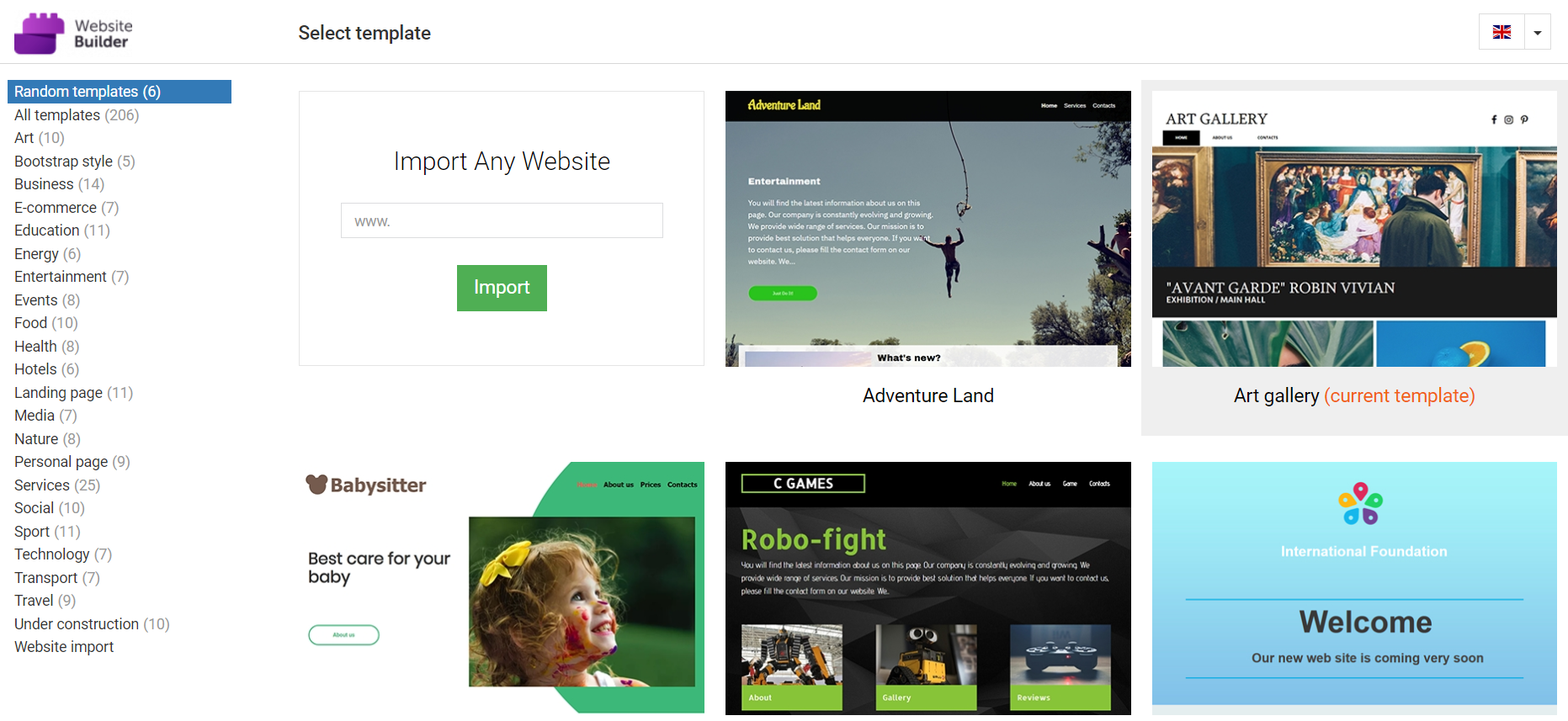 Rows of different template options for Website Builder are shown.