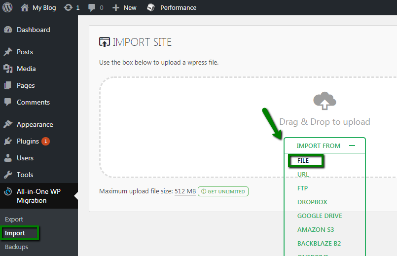 The import site screen within the WordPress dashboard