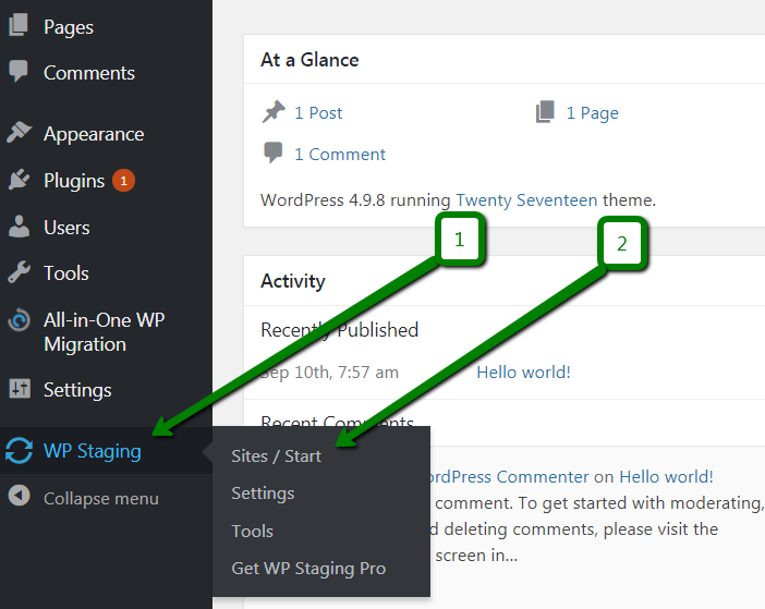An example of the staging options inside the WordPress dashboard