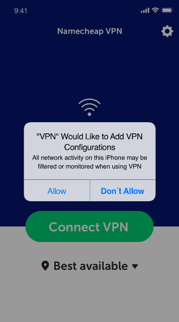 A screenshot from an iPhone with a pop-up active, asking to allow VPN configurations.