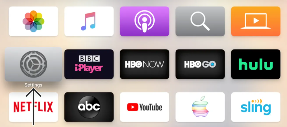Icons on the Apple TV home screen with an arrow pointing to Settings