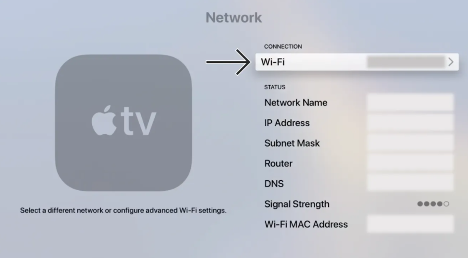 Within the Apple TV Network Settings an arrow points to WiFi
