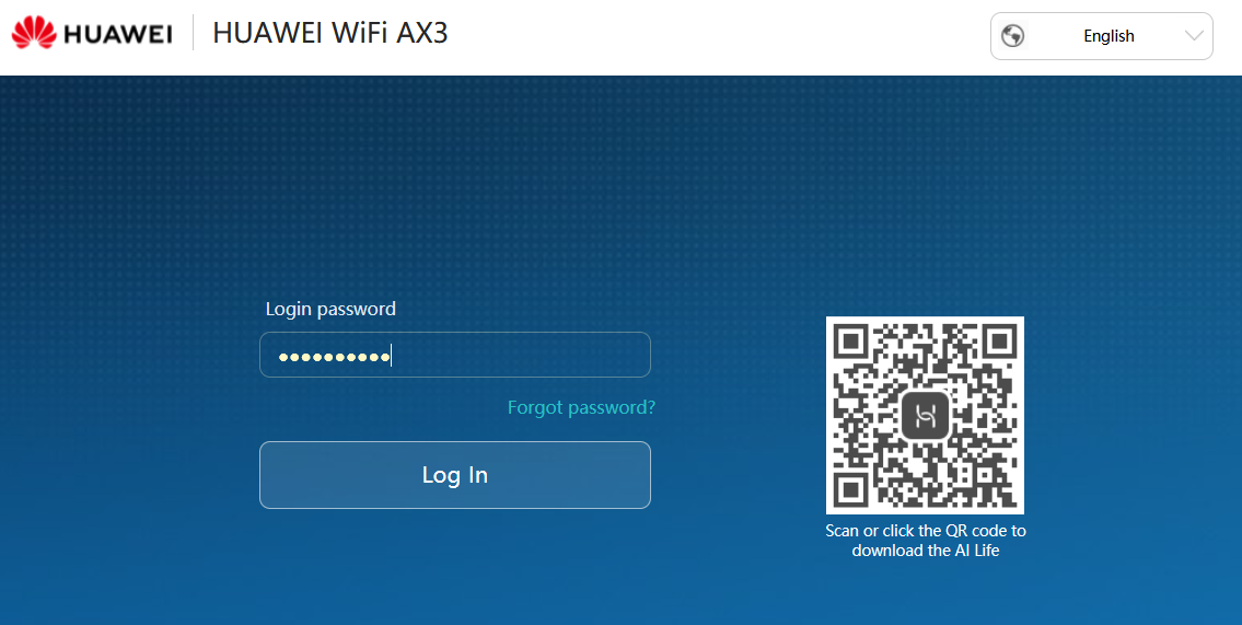 The Huawei router configuration screen