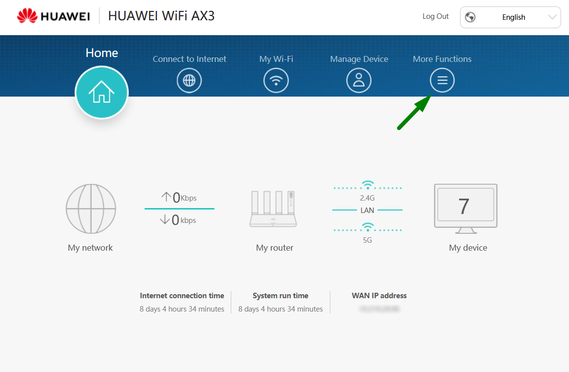 A green arrow points to the More Functions option within the Huawei router configuration screen