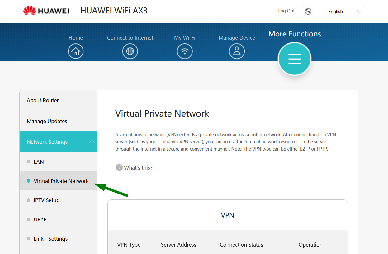 A green arrow points to the Virtual Private Network configuration option on a Huawei router