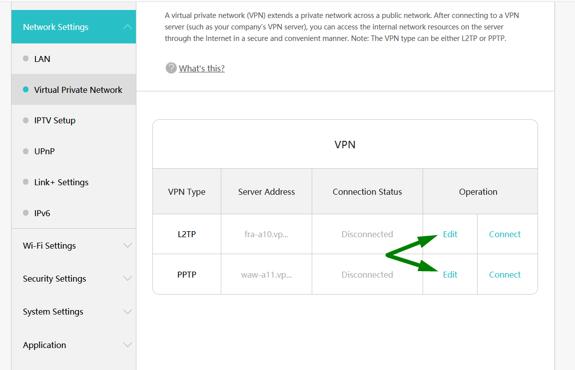 Green arrows indicate where to edit both L2TP and PPTP settings for VPN on a Huawei router