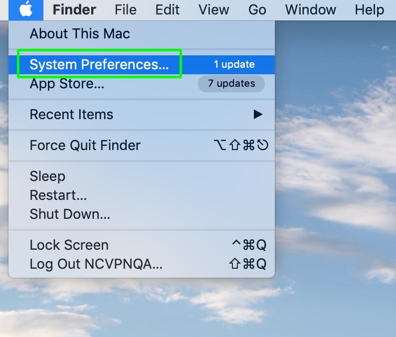 Detail of System Preferences menu on Mac