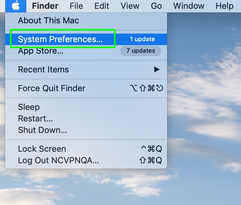 A screenshot of the options list in macOS with System Preferences highlighted