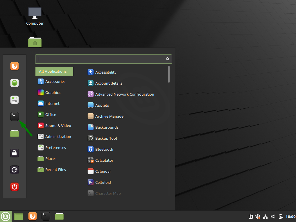 The start menu for Linux Mint