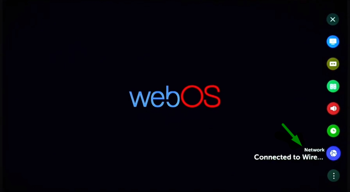 A green arrow points to the Network settings for webOS