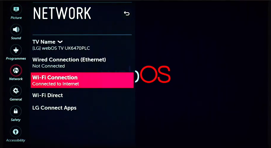 Wi-Fi Connection is highlighted within the webOS network settings
