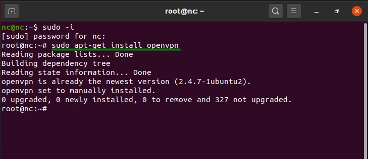 OpenVPN commands are shown as entered into Linux