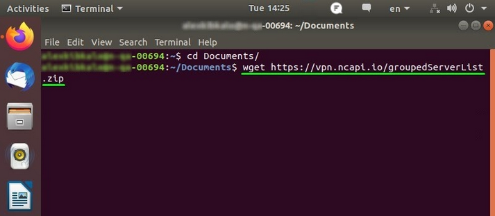 A screenshot of the Linux Ubuntu 18 Terminal window with the VPN client installation process in progress.