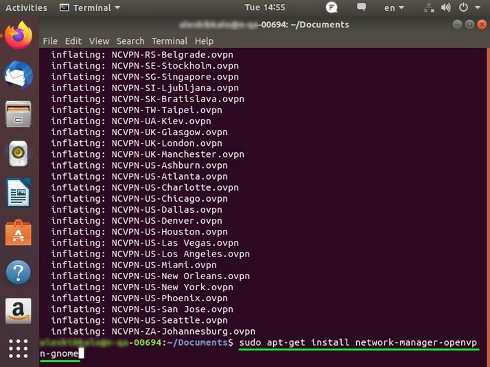 A step in the process of installing FastVPN on Linux Ubuntu 18 is shown.
