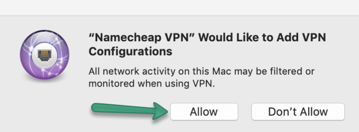 Screenshot of the MacOS popup to allow VPN connection