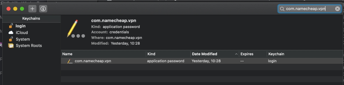 Screenshot of the Keychain records screen on MacOS