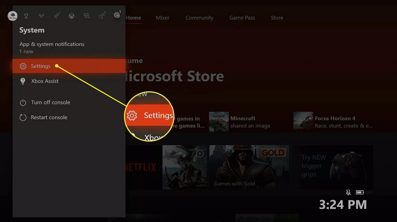 A yellow circle points to the settings menu on Xbox when using VPN on a Mac