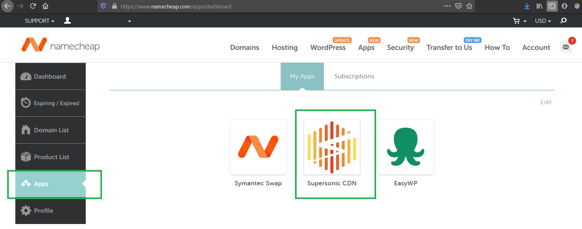 Screenshot from the Namecheap dashboard highlighting where to access CDN settings