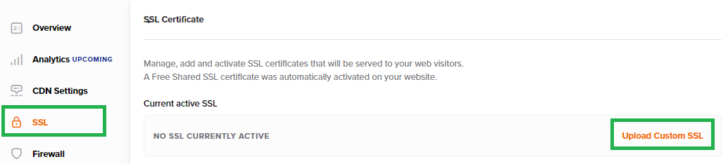 The Upload Custom SSL option is highlighted within the dashboard