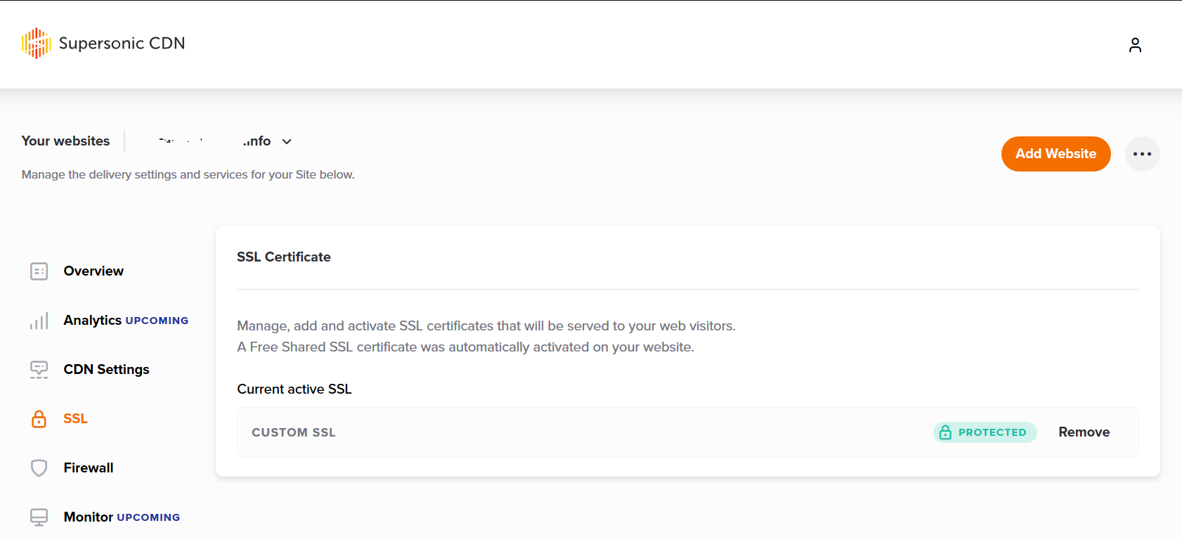 Screenshot example when your CDN is protected by SSL