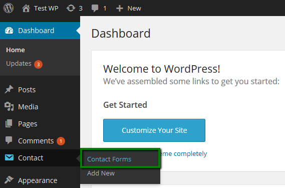 Screenshot of the Contact Forms settings in WordPress