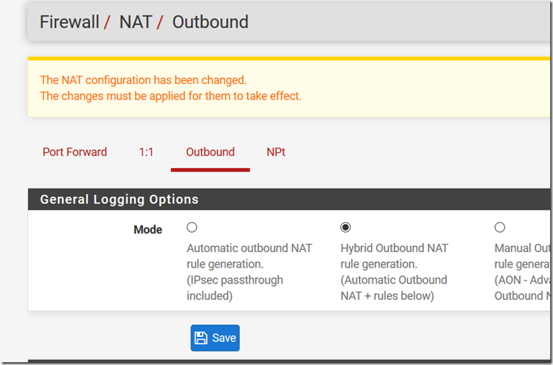 A screenshot of Outbound Mode Hybrid configurations in the pfSense router./></div><div><br /></div><div>Add masquerading rules from every client connecting. This is because every server in LAN has a default gw rule pointing to the edge. For this reason the only way to connect is using the pfSense IP which has a LAN IP. <br /></div><div><br /></div><div><img class=