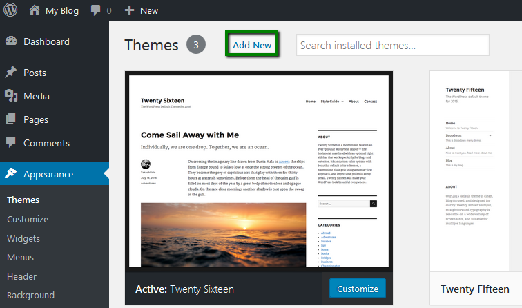 The Admin dashboard is shown with an indication of where to click to add a new theme