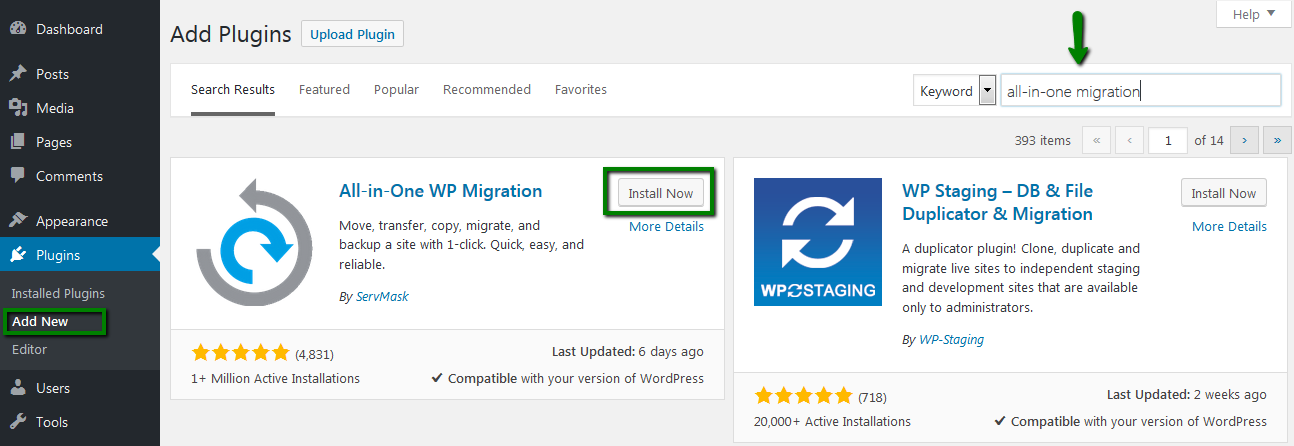 A screenshot of the WordPress dashboard with All in One Easy Migration plugin being added