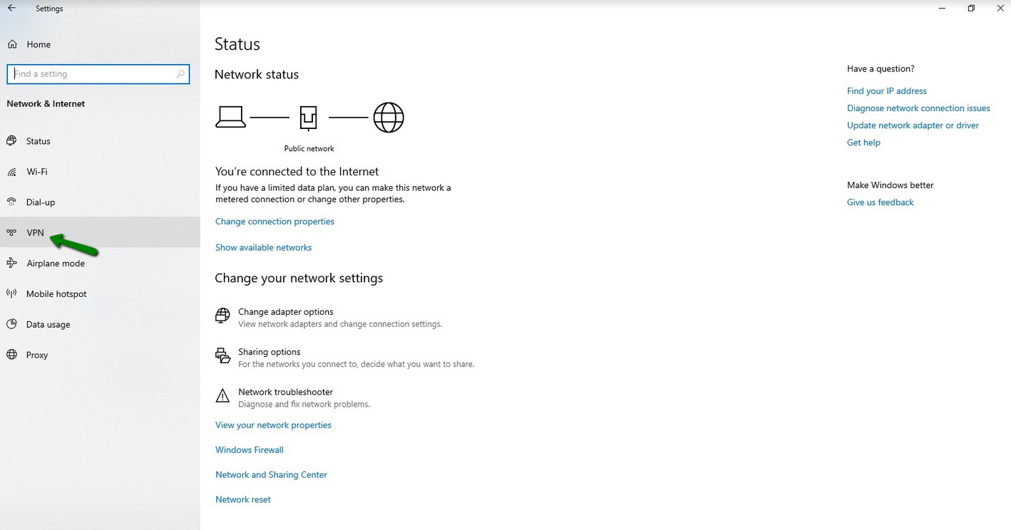 A green arrow points to network settings in Windows