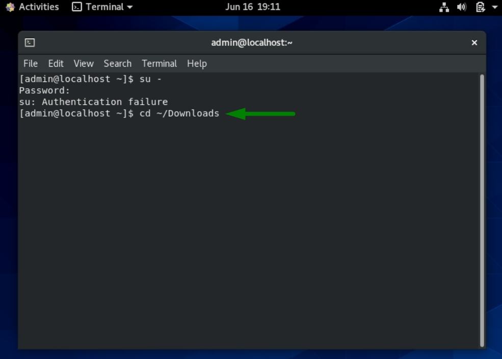 A green arrow points to the word Download on the command line in CentOS Linux 8