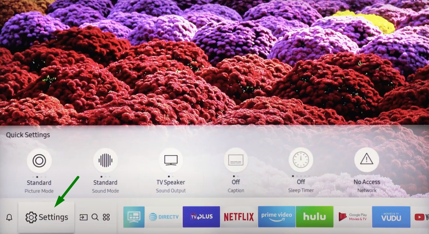 Arrow points to the Settings options on a Samsung Spart TV.