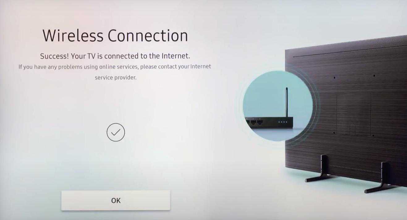 A check mark indicates the Wireless Connection is successful on a Samsung Smart TV.