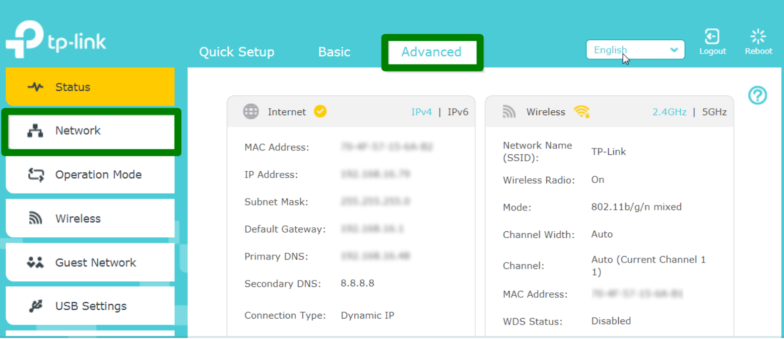 Screenshot of Advanced Network Settings screen for TP-Link router
