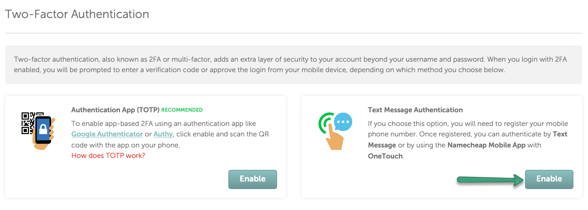 How can I use the OneTouch method for Two-Factor Authentication?