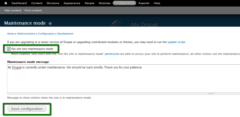 If You Are Logged In Will See A Working Website The Browser Log Out Of Drupal Admin Dashboard To Maintenance Page