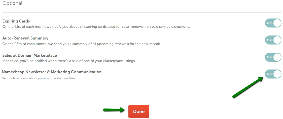 fe22ea6b07f5a9 Scroll down to the Optional section and toggle the button for Namecheap  Newsletter   Marketing Communication