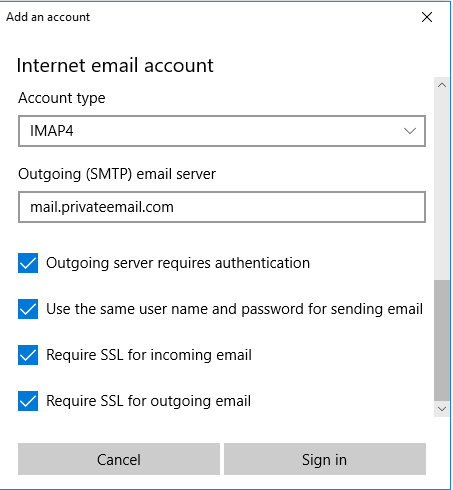 Private Email account setup on Windows 10 - Email service