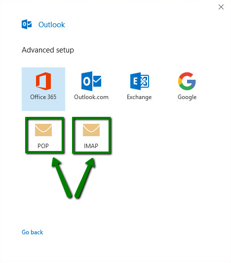 cPanel email account setup in Outlook 2019 - Email service