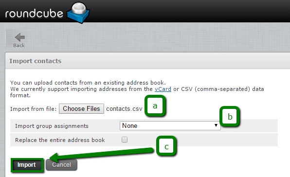 How to import/export contacts via cPanel Webmail - Email service