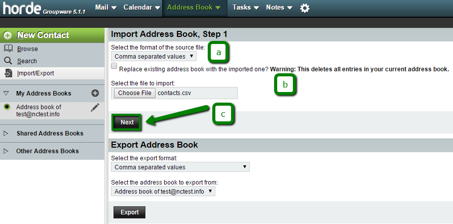 How to importexport contacts via cpanel webmail email service on import step 2 do the following solutioingenieria Choice Image