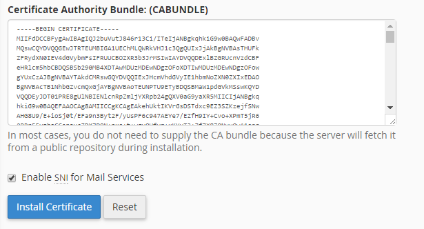 Installing a SSL certificate on your server, using cPanel ...