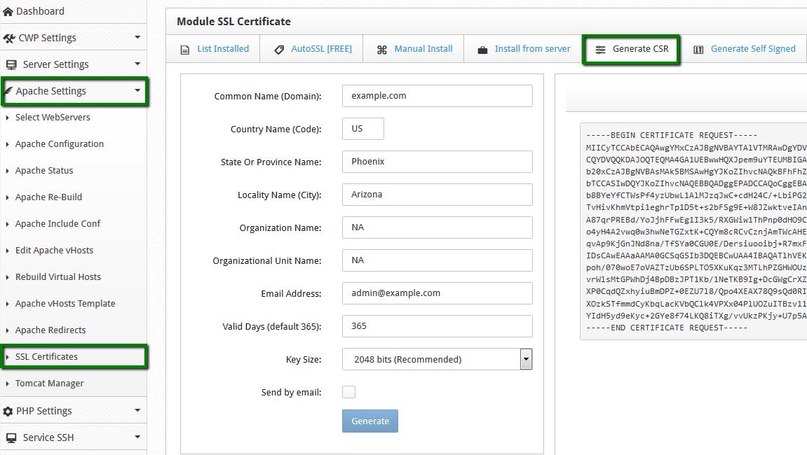 Generating Csr In Cwp 7 Ssl Certificates Namecheap