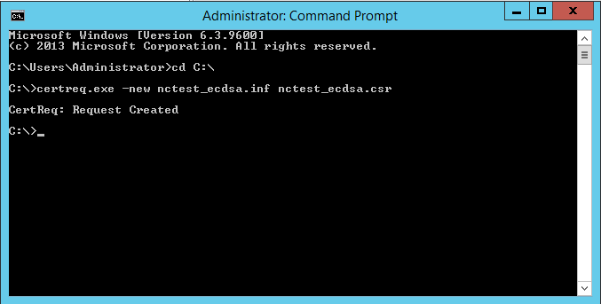 How to generate a csr code on a windows based server without iis manager if the request created message appears in response to the command the csr code is created and saved into the r file nctestecdsar in the example yadclub Gallery