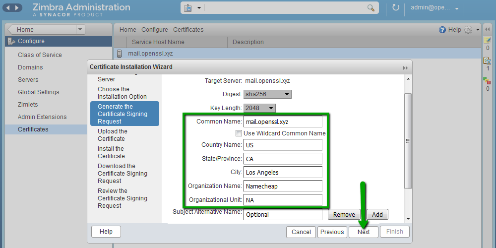 Generating a CSR on Zimbra - SSL Certificates - Namecheap com