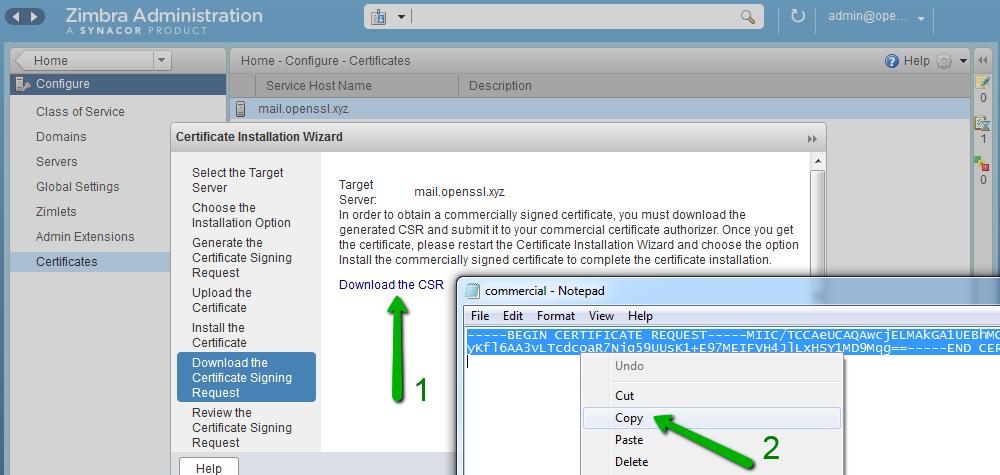 Generating a CSR on Zimbra - Namecheap.com