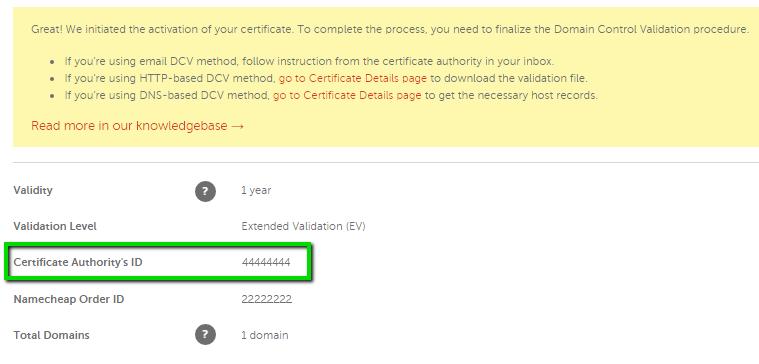 EV process and its documentation - SSL Certificates - Namecheap.com