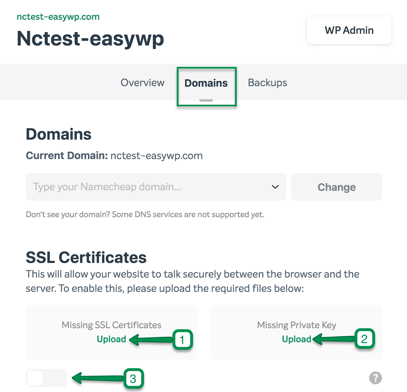 Easywp how to add ssl to your wordpress site apps namecheap upload the certificate private key file in pem format the one you have created during the csr generation process please ensure that your private key file 1betcityfo Choice Image