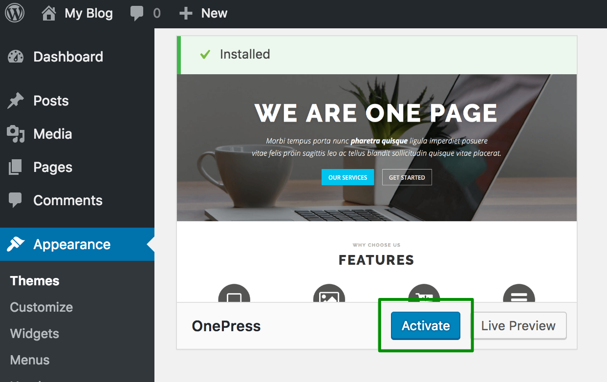 EasyWP: How to install a new theme for your website - Apps ...
