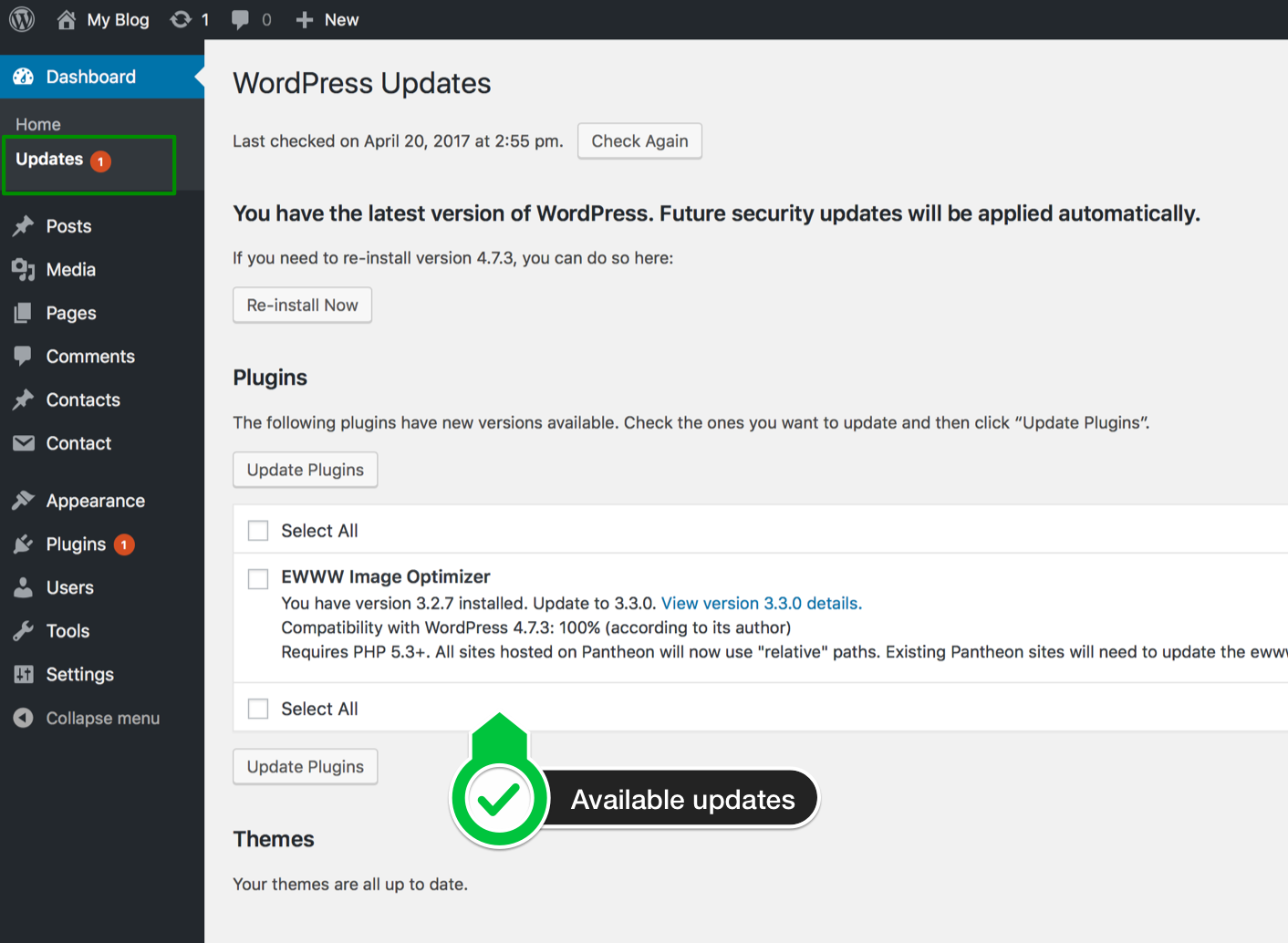 Easywp how to upgrade a wordpress plugintheme easywp to update a plugin or theme just select a plugintheme and click on the update pluginsupdate themes button xflitez Images